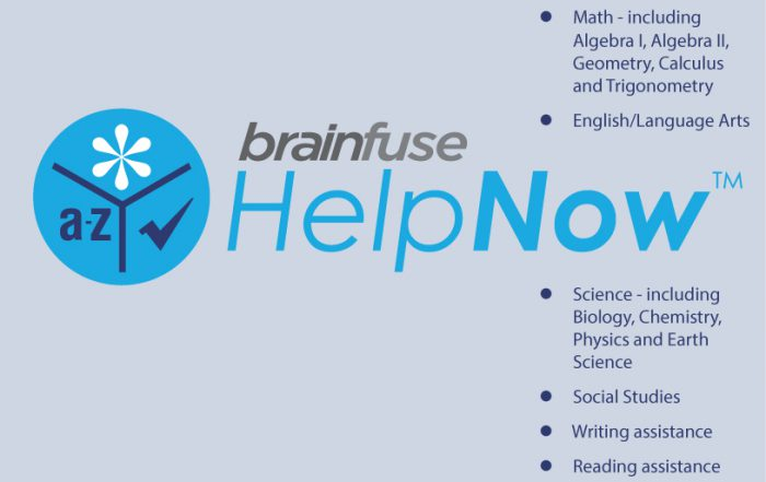Brainfuse HelpNow! logo with a list of subjects for tutoring.